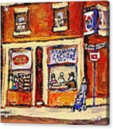 Jewish Montreal Vintage City Scenes Hutchison Street Butcher Shop  Acrylic Print