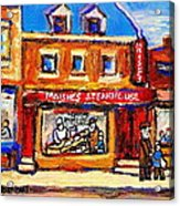 Jewish Montreal Vintage City Scenes Moishes St. Lawrence Street Acrylic Print