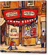 Jewish Montreal Vintage City Scenes Schwartzs Original Hebrew Deli Acrylic Print