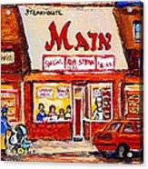 Jewish Montreal Vintage City Scenes The Main Rib Steaks On St. Lawrence Boulevard Acrylic Print