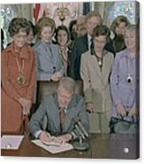 Jimmy Carter Signs A House Acrylic Print by Everett