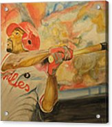 Jimmy Rollins Acrylic Print by Keith Hancock