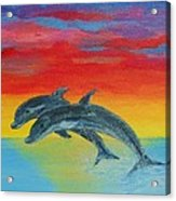 Jumping Dolphins Left Acrylic Print