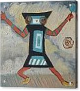 K Is For Kachina Detail From Childhood Quilt Painting Acrylic Print