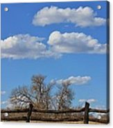 Kansas Country Wooden Fence With Blue Sky And Cloud's Acrylic Print