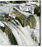Kayaker At The Top Of A Waterfall Acrylic Print