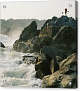 Kayaker Carries Boat Up The Rocks Acrylic Print