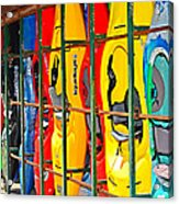 Kayaks In A Cage Acrylic Print