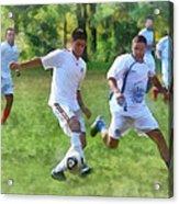Kicking Soccer Ball Acrylic Print