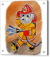 Kids Art Firedog Firefighter  Acrylic Print