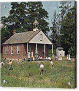 Kids Play Baseball During Recess Acrylic Print by J. Baylor Roberts