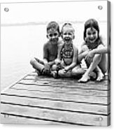 Kids Sitting On Dock Acrylic Print