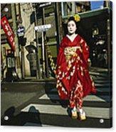 Kimono-clad Geisha Crosses A Street Acrylic Print