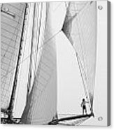 king of the world - a classic sailboat with all sails plying the sea on the island of Menorca Acrylic Print
