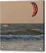 Kitesurfing At Sunset Mandrem Acrylic Print