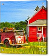 Klamath Old Fire Truck And Red School House Acrylic Print by Gregory Dyer