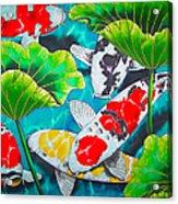 Koi And Lotus Acrylic Print by Daniel Jean-Baptiste