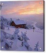 La Chouette Cabin At Twilight, Gaspesie Acrylic Print