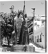 La Rogativa Sculpture Old San Juan Puerto Rico Black And White Acrylic Print by Shawn O'Brien
