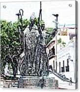 La Rogativa Sculpture Old San Juan Puerto Rico Colored Pencil Acrylic Print