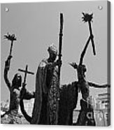 La Rogativa Statue Old San Juan Puerto Rico Black And White Acrylic Print by Shawn O'Brien