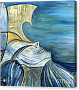 Beautiful Mysterious Blue Woman Portrait La Sirene French For Mermaid Mythic Siren Original Painting Acrylic Print