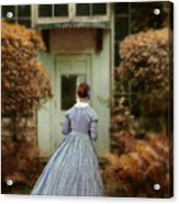 Lady In 19th Century Clothing By Conservatory Acrylic Print