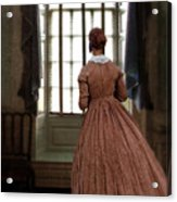 Lady In 19th Century Clothing Looking Out Window Acrylic Print
