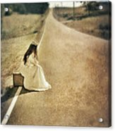 Lady In Gown Sitting By Road On Suitcase Acrylic Print