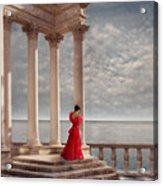 Lady In Red Gown By The Sea Acrylic Print