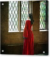 Lady In Tudor Gown Looking Out A Window Acrylic Print