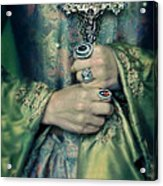 Lady In Tudor Gown With Crucifix Acrylic Print