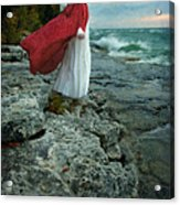 Lady In Vintage Clothing By The Sea Acrylic Print