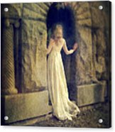 Lady In White Gown In Doorway Acrylic Print