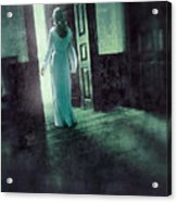 Lady In White Gown Walking Through A Mysterious Doorway Acrylic Print