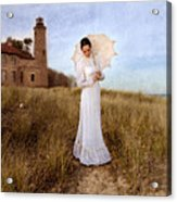 Lady In White With Parasol By The Sea Acrylic Print