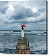 Lady On Dock In Storm Acrylic Print