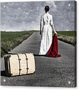 Lady On The Road Acrylic Print
