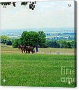Lady Plowing In Field Acrylic Print