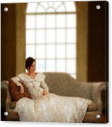 Lady Sitting On Sofa By Window Acrylic Print