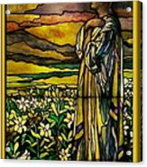 Lady Stained Glass Window Acrylic Print by Thomas Woolworth