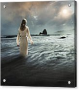 Lady Wading Into The Sea In The Early Morning Acrylic Print
