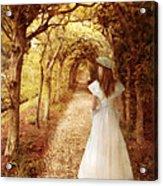Lady Walking In Tree Tunnel In Garden Acrylic Print