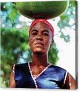 Lady With Calbace On Head Acrylic Print