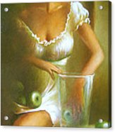 Lady With Green Apples Acrylic Print