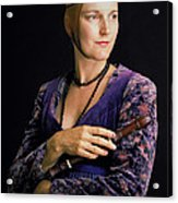 Lady With Recorder Acrylic Print
