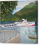 Lago Di Como Ferry Acrylic Print by Linda Scott
