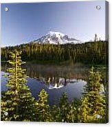 Lake And Mount Rainier, Mount Rainier Acrylic Print