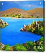 Lake  Aviemore - - Fine Art Impressionist Serenity Landscape Acrylic Print
