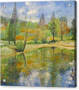 Lake In Springtime. Acrylic Print by Max Mckenzie